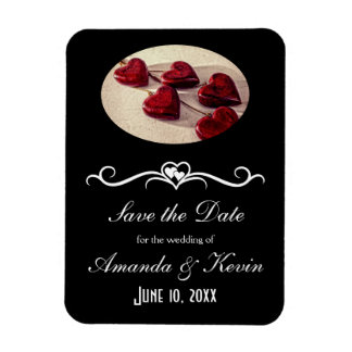 save the date info Red Wooden Hearts Tied Together Magnet