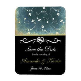 save the date info with vintage pattern magnet