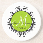 Save the Date Initial Names Wedding Coaster Green