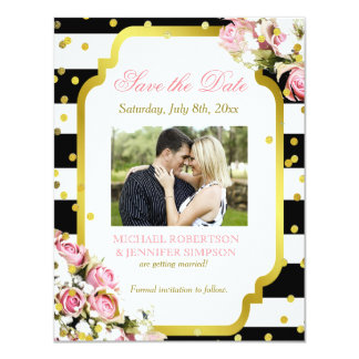Save the Date Insert Confetti Roses Babys Breath Card