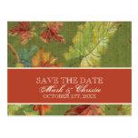 Save the Date Invitation Autumn Grape Leaf Batik Postcards