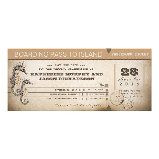 save the date invitation boarding pass tickets