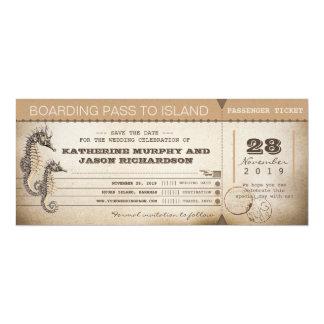 "save the date invitation boarding pass tickets 4"" x 9.25"" invitation card"