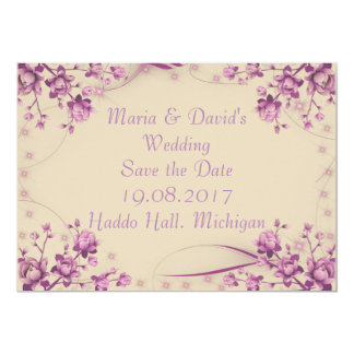 Save the Date Invitation card. Floral Border.