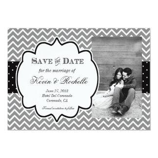 "Save the Date Invitation Chevron and Polka Dots 5"" X 7"" Invitation Card"