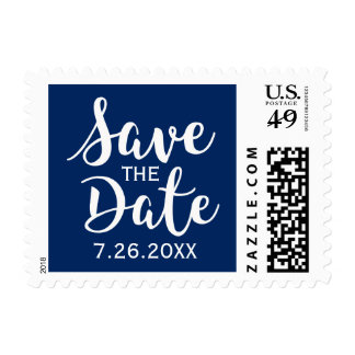 Save the Date Invitation Nautical Navy Blue Script Postage