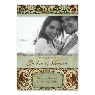 Save the Date Invitation Vintage Brown Green