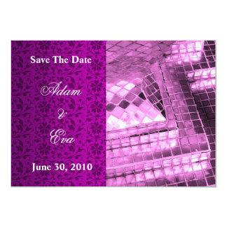 "Save The Date Invitation Violet Gemstone Mosaic 5"" X 7"" Invitation Card"