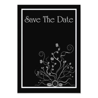 Save The Date Invitation with flowers scrolls