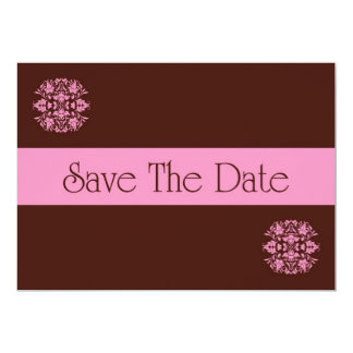 Save The Date Invitation with pink flowers scrolls