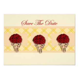 Save The Date Invitation with red flowers bouquets