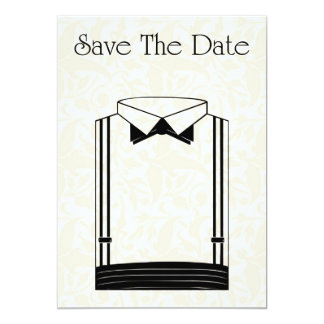 Save The Date Invitation with tuxedo suit
