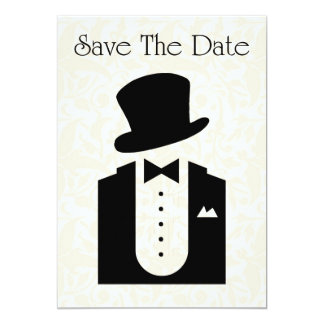 Save The Date Invitation with tuxedo top hat suit