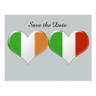 Save the Date Irish Italian Heart Flags Postcard