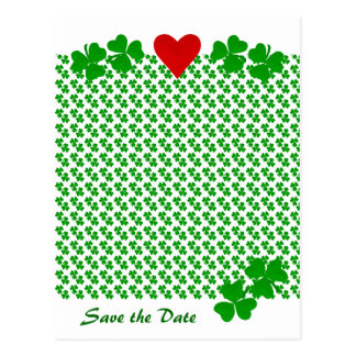 Save the Date Irish Shamrock border with red heart Postcard