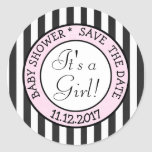 Save the Date, Its a Girl Baby Shower Sticker