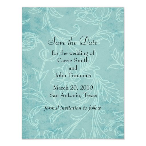 "Save the Date Jacobean Damask 4.25"" X 5.5"" Invitation Card"
