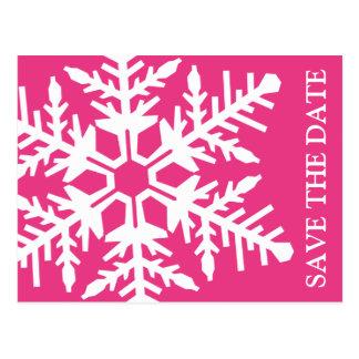 Save The Date Jumbo Snowflake (Dark Pink / White) Postcard
