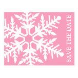 Save The Date Jumbo Snowflake (Pink / White) Postcard