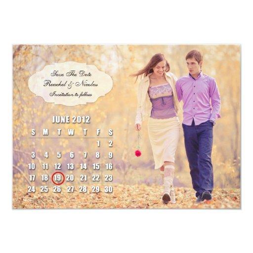 "Save The Date (JUNE 2012) Photo Flat Card 4.5"" X 6.25"" Invitation Card"