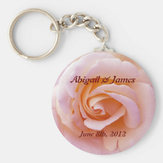 save the date key chain peach & pinky rose