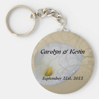 save the date key chain with dew drop lily with sw