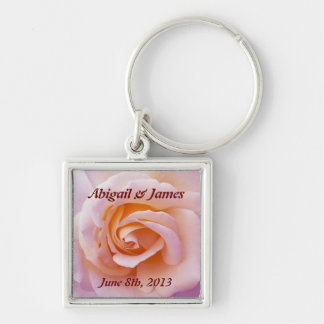 save the date key chain with peach &  pinky rose