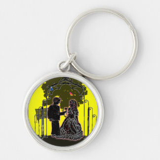 Save the Date Silver-Colored Round Keychain