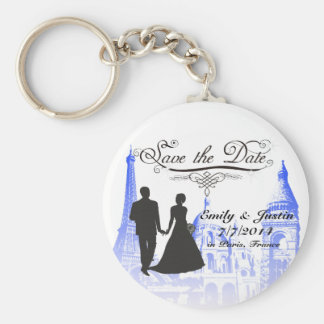 SAVE THE DATE KEYCHAIN WITH VIEW OF PARIS, FRANCE KEY CHAINS
