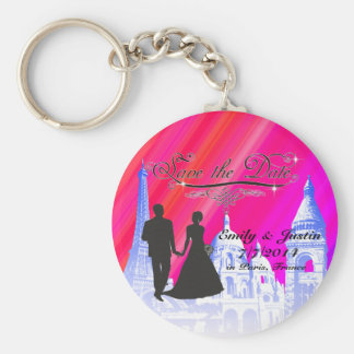 SAVE THE DATE KEYCHAIN WITH VIEW OF PARIS, FRANCE