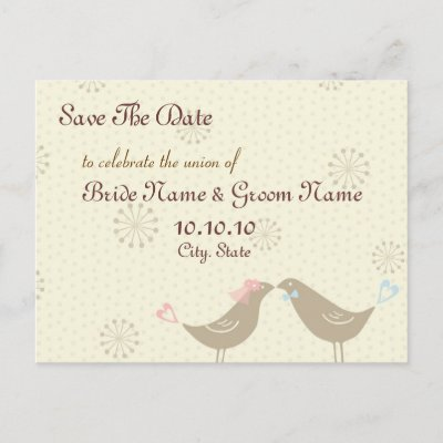 Save The Date Kissing Birds Wedding Postcard by EuphorianChic
