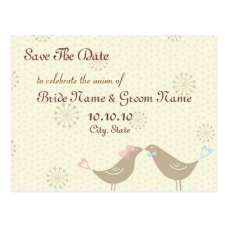 Save The Date Kissing Birds Wedding Postcard