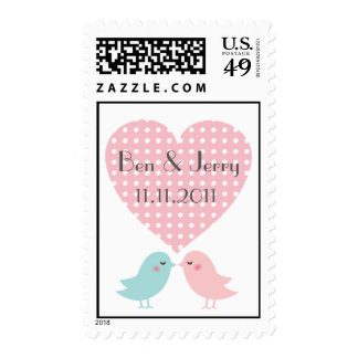 Save The Date Kissing Pop Birds Postage