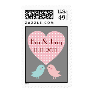 Save The Date Kissing Pop Birds Postage Gray