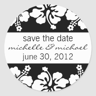 Save The Date Label (Black Hibiscus Flowers) Round Sticker