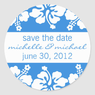 Save The Date Label (Blue Hibiscus) Stickers
