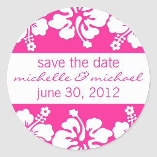 Save The Date Label (Dark Pink Hibiscus)