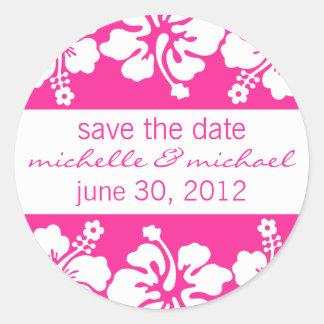 Save The Date Label (Dark Pink Hibiscus) Round Sticker