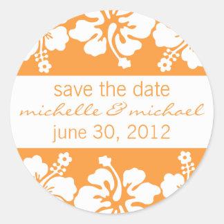 Save The Date Label (Orange Hibiscus) Stickers