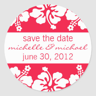Save The Date Label (Red Hibiscus) Round Sticker