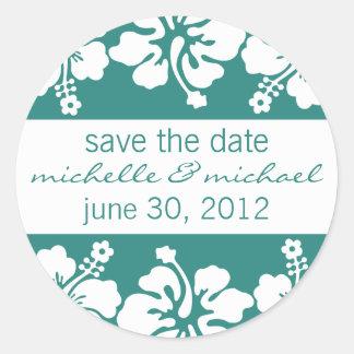 Save The Date Label (Sea Foam Green Hibiscus)
