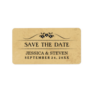 Save the Date Label - Tan & Black Fancy Floral