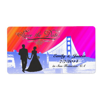 SAVE THE DATE LABELS WITH VIEW OF SAN FRANCISCO