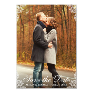 Save The Date Lace Border Couple Photo Card L