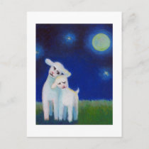 SAVE THE DATE lambs sheep moon LOVE wedding Announcement Postcard
