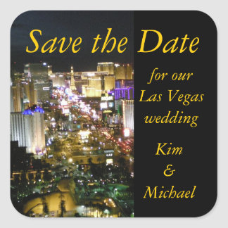 Save the Date Las Vegas Bride and Groom Sticker