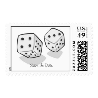 Save the Date Las Vegas Dice Postage Stamp
