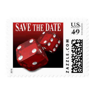 Save the Date Las Vegas Red Dice Wedding Postage