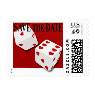Save the Date Las Vegas Red Hearts Dice Stamp