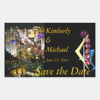Save the Date Las Vegas Rectangular Stickers